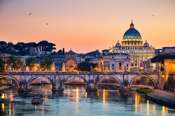 Wall Murals Rome Night view of the Basilica St Peter in Rome, Italy