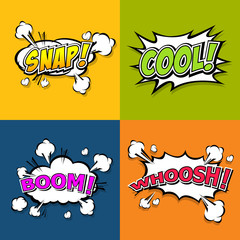 Collection multicolored comic sound Effects