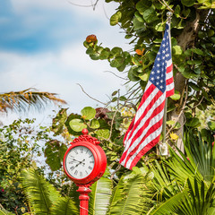 American flag with clock on green palm background