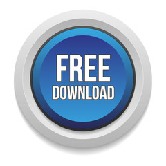 Blue free download button on white background