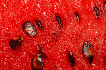 Watermelon pulp with seeds closeup