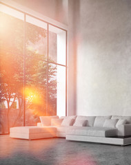 Modern living room interior with bright sun flare