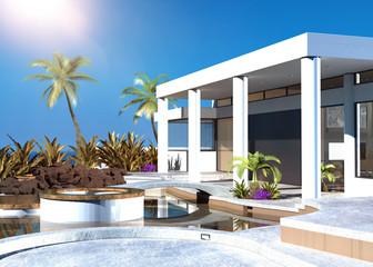 Modern coastal home with an outdoor patio