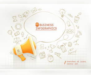 Marketing and promotion, business infographics vector set