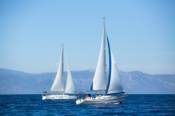 Luxury yachts. Boats in sailing regatta.