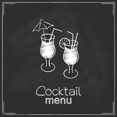 Design for cocktail menu in chalkboard style