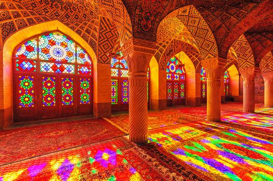 An Interior view of Nasir Al-Mulk Mosque in Shiraz, Iran