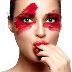 Fantasy Makeup. Painted Face. Strawberry