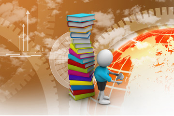 3d student and books, education concept