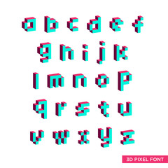 3d pixel font lowercase