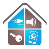 logo vid o surveillance alarme s curit fichier vectoriel libre de droits sur la banque d. Black Bedroom Furniture Sets. Home Design Ideas