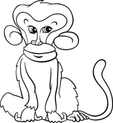 cute monkey cartoon coloring page