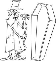 undertaker with coffin cartoon illustration