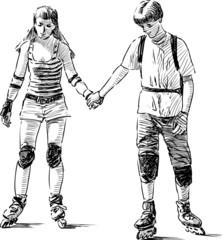 teens on roller skates