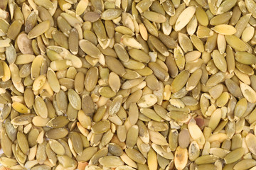 Close up of pumpkin seeds.