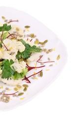 Close up of cauliflower salad.