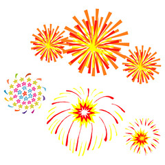set of cartoon firework