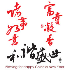 "Chinese Calligraphy of ""blessing for good health and smooth work"
