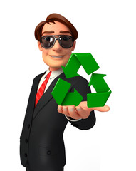 Young Business Man with recycle icon