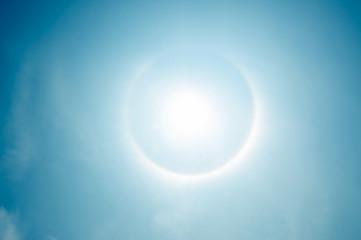 fantastic beautiful sun halo phenomenon