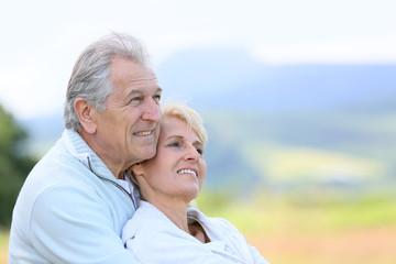 Portrait of senior couple looking towards the future