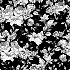 Seamless monochrome floral background with roses