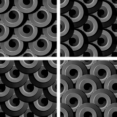 Patterns with circle spiral elements. Seamless textures set.