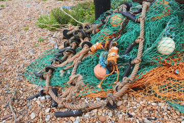 Green and orange fishing nets