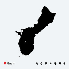 High detailed vector map of Guam with navigation pins.
