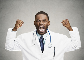 Angry rude upset male health care professional, doctor