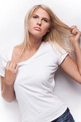 Beautiful fashion model in white t-shirt.