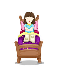 cute girl lay down in bed with book