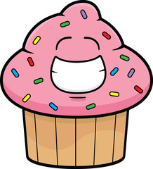 Cartoon Cupcake Grinning