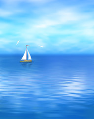 Wall Mural - Yacht Vector Blue Sea Landscape