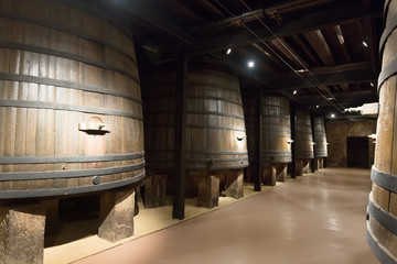 barrels in old winery