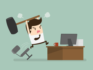 Furious frustated businessman hitting the computer, vector illus