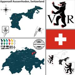 Map of Appenzell Ausserrhoden, Switzerland