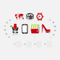 Set of sticker design. Online shopping concept