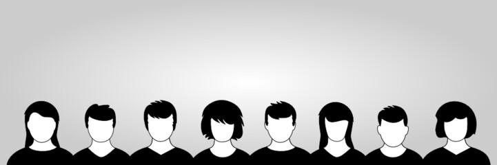Gesichter in Reihe