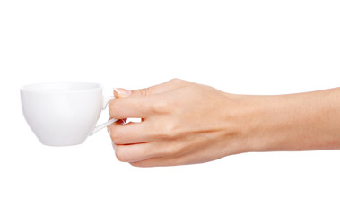 Female hand holding a cup