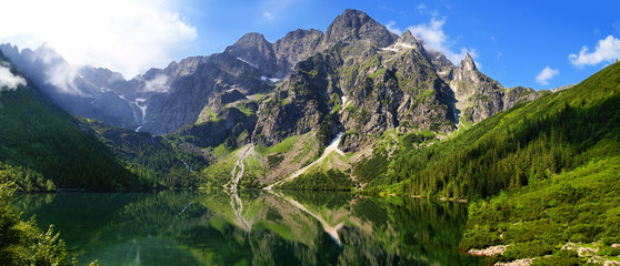 Beautiful scenery of Tatra mountains and Eye of the Sea Wall mural