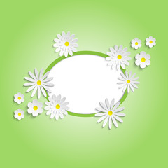 Abstract white flowers on a green background