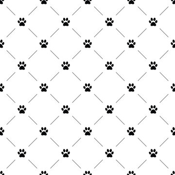 Vector seamless pattern, cat paw