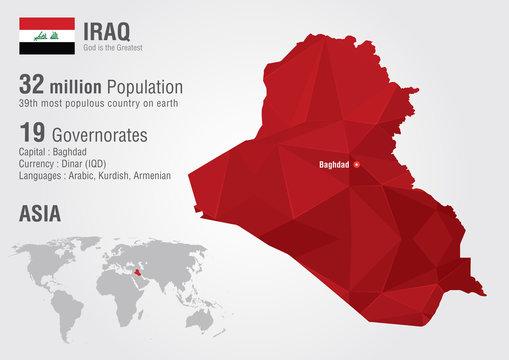 Iraq world map with a pixel diamond texture.