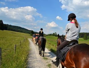 Tuinposter Paardrijden Mädchen, Ausritt, Pferde