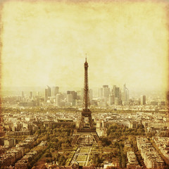 Aerial view of Paris, France. Old style photo.