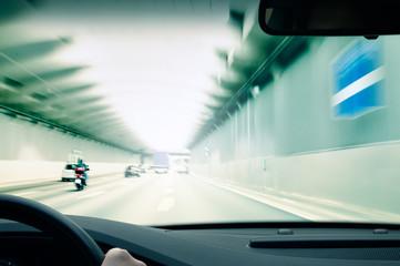 Commuter traffic in an urban expressway (motorway) tunnel