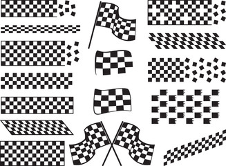 Race flags isolated on white background