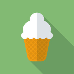 Ice cream icon. Modern Flat style with a long shadow