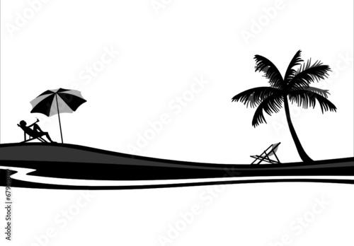 strand palme liegestuhl stockfotos und lizenzfreie vektoren auf bild 67940309. Black Bedroom Furniture Sets. Home Design Ideas